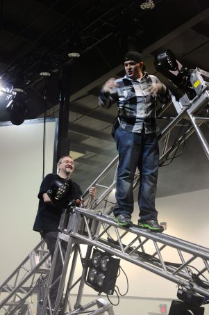 Keith and Zayne love to hang out on truss...and talk about risky camera shots.